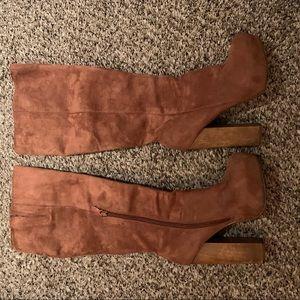 Knee high boots brown suede wood heel